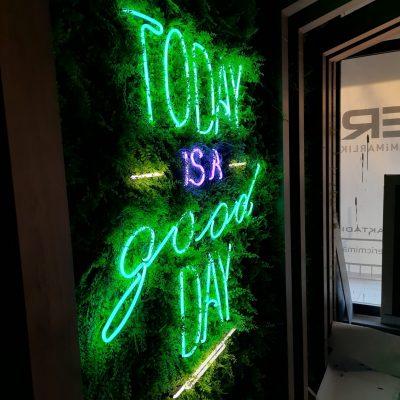 today is a good day neon tabela çim zemin